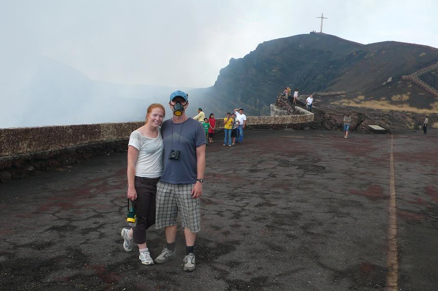Traveling couple Masaya Volcano