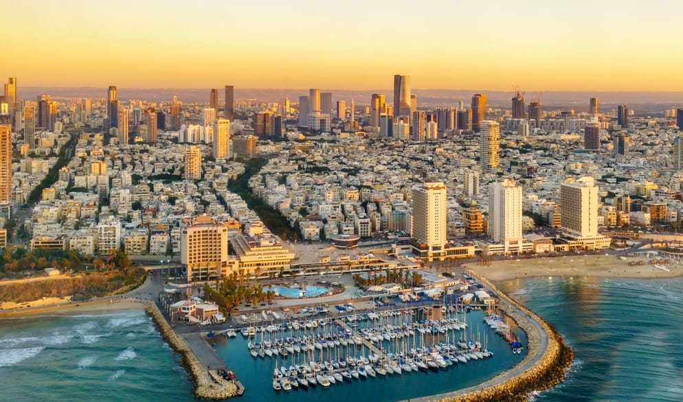 Aerial sun set view of Mediterranean Seashore of Tel Aviv