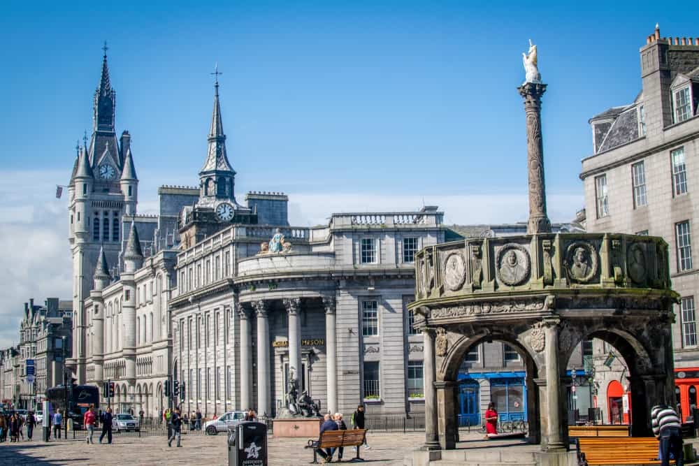 Castlegate square and Aberdeen's Mercat Cross in Aberdeen
