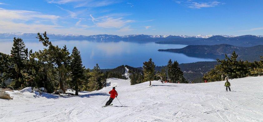 Downhill skiing above Lake Tahoe