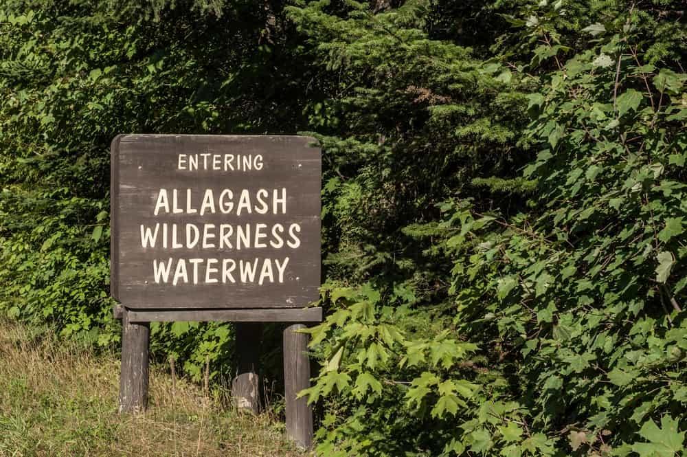 Entering Allagash Wilderness Waterway sign in Northern Maine