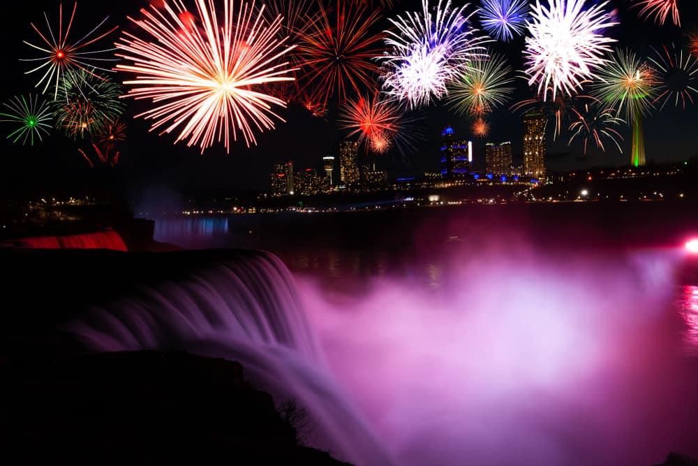 Niagara falls and fireworks celebration show USA