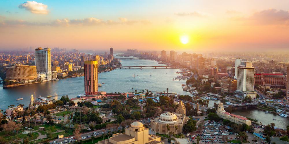 Panorama of Cairo cityscape taken during the sunset