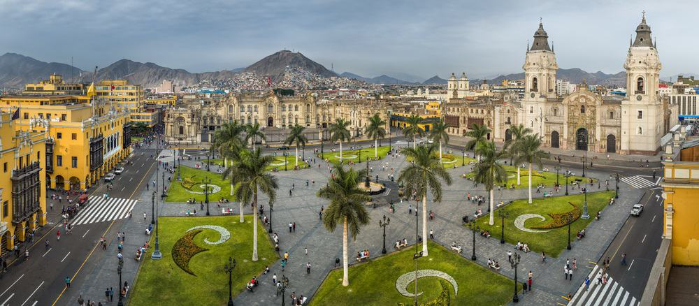 Panoramic view of the main square of Lima, Peru