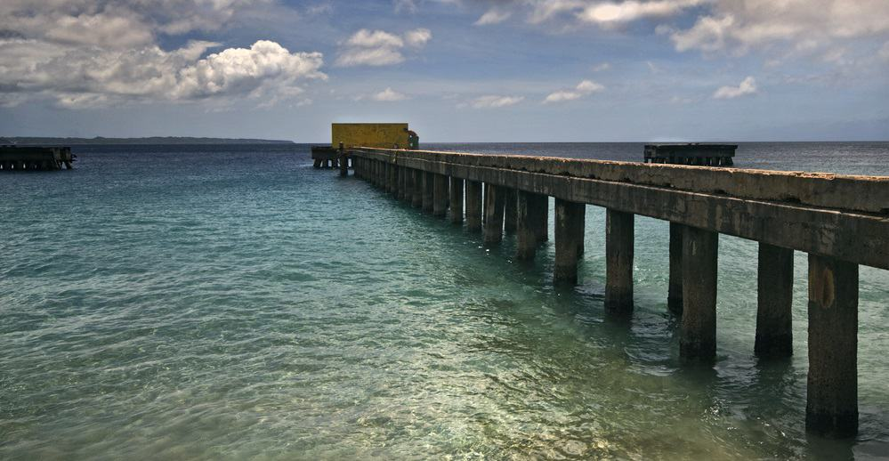 Pier,At,Crashboat,Beach,In,Puerto,Rico.,Dynamic,Clouds,And