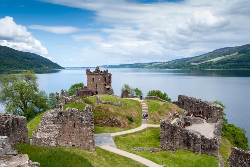 Ruins of Urquhart Castle on Lake Loch Ness, Scotland