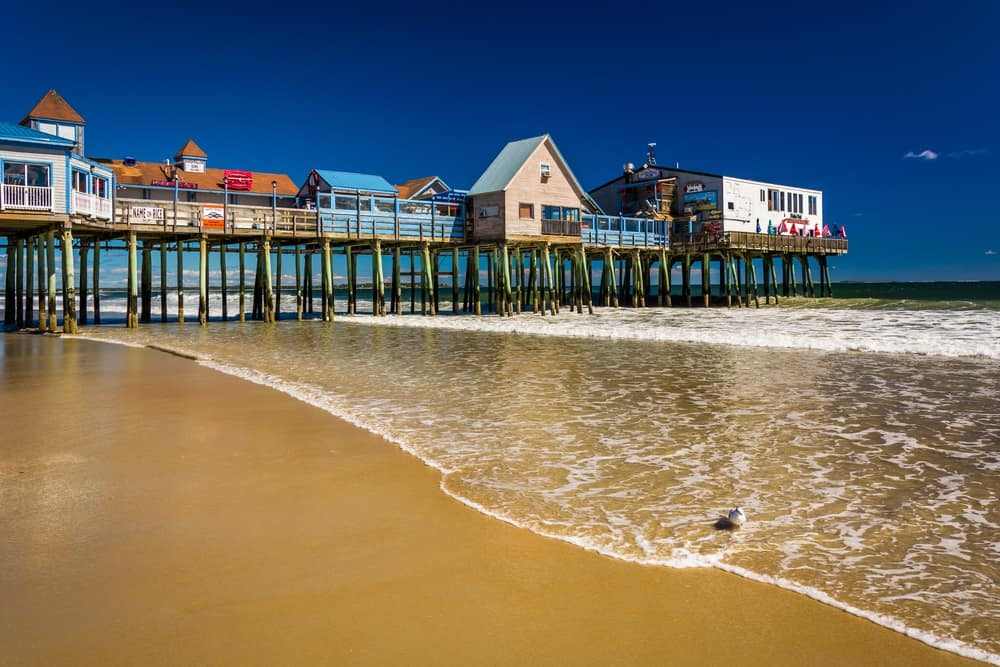 The Atlantic Ocean and pier in Old Orchard Beach