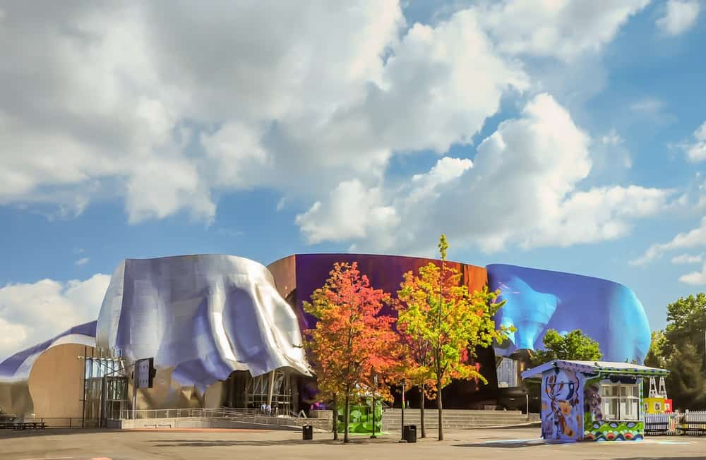 The Museum of Pop Culture with colorful tree standing