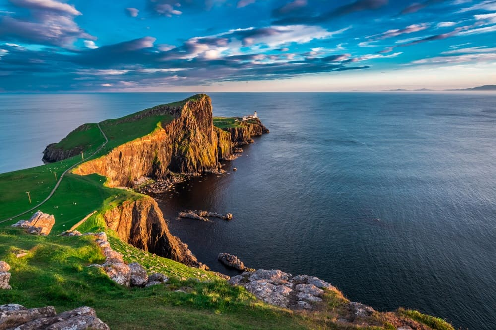 Wonderful sunset at the Neist point lighthouse in Scotland
